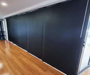 Panel Glide Blinds in Black - Great for Oversize Sliding Doors